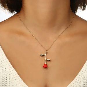 Rose Flower Pendant Necklace